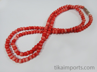 3mm Coral Red Rainbow Bone Necklace