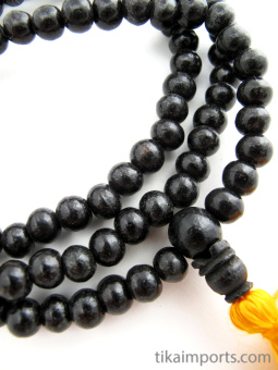 Prayer bead mala strand of 108 7mm ebony wood beads