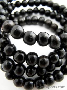 Prayer bead mala strand of 108 7mm ebony wood beads with no tassel