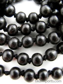 Knotted prayer bead mala strand of 108 8mm ebony wood beads