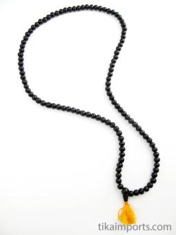 Prayer bead mala strand of 108 9mm ebony wood beads