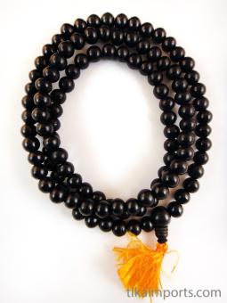 Prayer bead mala strand of 108 10mm ebony wood beads