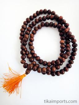 Prayer bead mala strand of 108 8mm sheesham wood beads