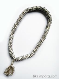 Prayer bead mala strand of 108 carved bone rondell-shaped beads