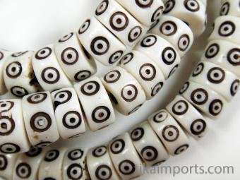 Carved Bone Bullseye Disc Mala Tika Imports