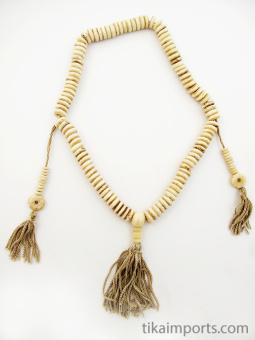 Prayer bead mala strand of 108 light bone rondell beads