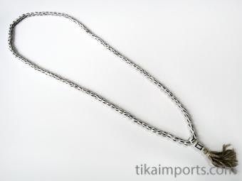 Prayer bead mala strand of 108 carved bone barrel-shaped beads