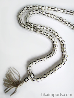 Prayer bead mala strand of 108 carved bone beads
