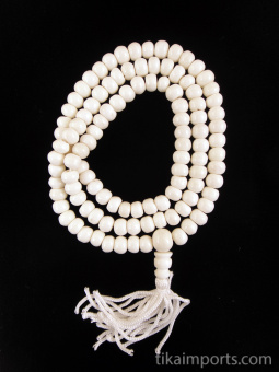 Prayer bead mala strand of 108 8mm white bone beads