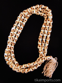 Prayer bead mala strand of 108 small carved bone skull beads