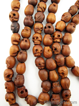 Prayer bead mala strand of 108 carved wood skull beads