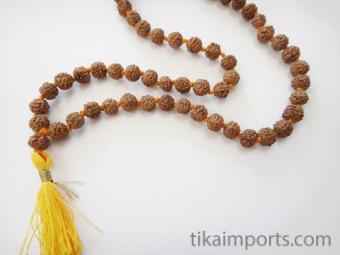 Knotted prayer bead mala strand of 108 6mm rudraksha seed beads