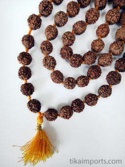 knotted prayer bead mala strand of 108 10mm rudraksha seed beads