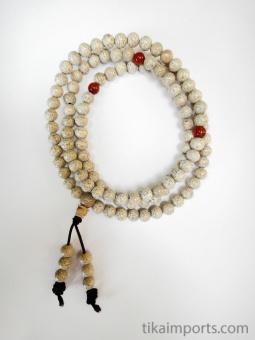 Prayer bead mala strand of 108 tiny white Lotus Seed beads