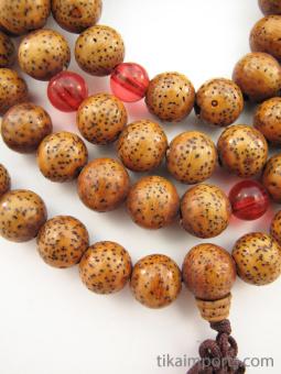 Prayer bead mala strand of 108 brown Lotus Seed beads