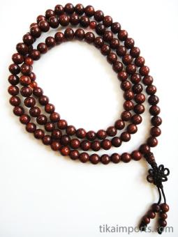Prayer bead mala strand of 108 red Lotus Seed beads