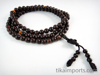 Prayer bead mala strand of 108 dark Lotus Seed beads