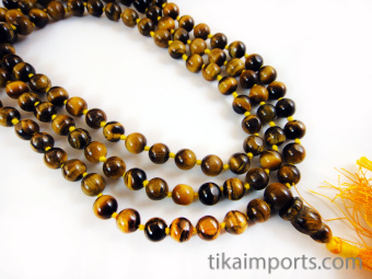Knotted prayer bead mala strand of 108 tiger's eye beads