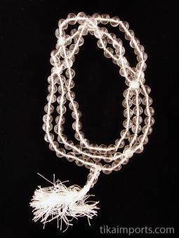 Prayer bead mala strand of 108 natural quartz crystal beads