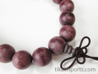 12mm Purpleheart Mala Bracelet strung on stretch elastic with hand knotted tassel