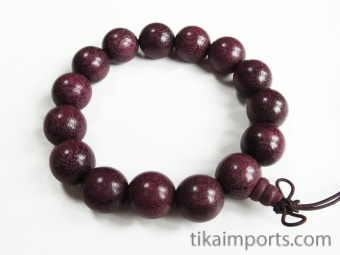 15mm Purpleheart Mala Bracelet strung on stretch elastic with hand knotted tassel