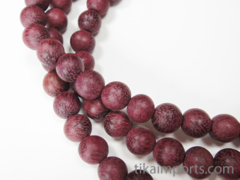 Prayer bead mala strand of 108 carved 8mm Purpleheart wood beads