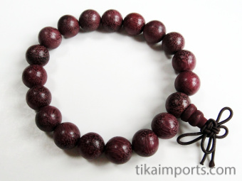 10mm Purpleheart Mala Bracelet strung on stretch elastic with hand knotted tassel
