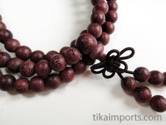 Prayer bead mala strand of 108 6mm carved Purpleheart wood beads