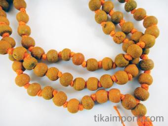 closeup of Knotted Haldi Turmeric Mala prayer beads