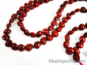 Prayer bead mala strand of 108 heart-shaped seeds from the Red Sandalwood Tree