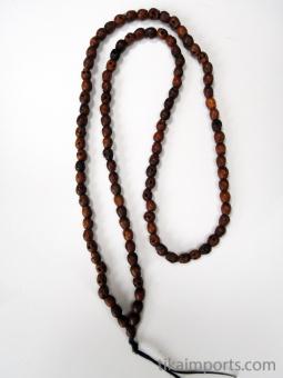 Prayer bead mala strand of 108 carved tiny wood skull beads