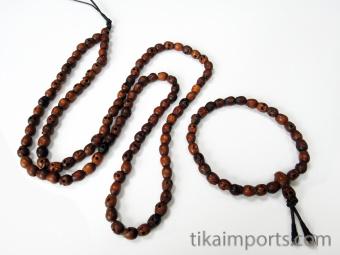 Prayer bead mala strand of 108 carved tiny wood skull beads with matching Tiny Wood Skull Bracelet