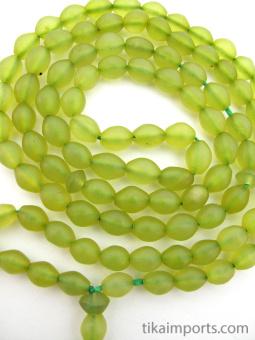 Prayer bead Tespeh strand of 99 handcarved green serpentine stone beads
