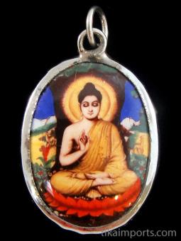 Buddha enamel deity pendant, the sage on whose teachings Buddhism was founded