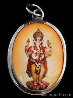 standing Ganesh enamel deity pendant, the remover of obstacles
