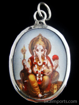 seated Ganesh enamel deity pendant, the remover of obstacles
