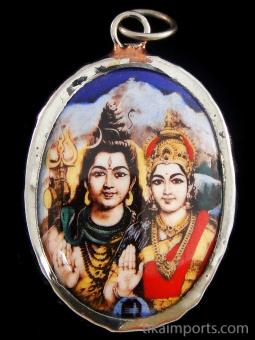 Shiva & Parvati enamel deity pendant