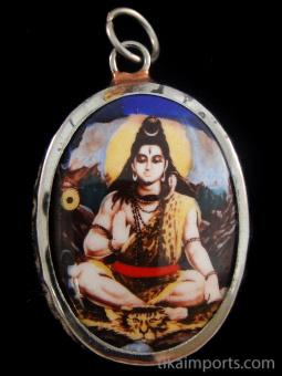 sitting Shiva enamel deity pendant