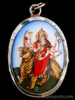Durga enamel deity pendant, the warrior goddess who combats evil forces