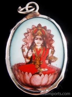 seated Lakshmi enamel deity pendant, the Goddess of abundance and prosperity