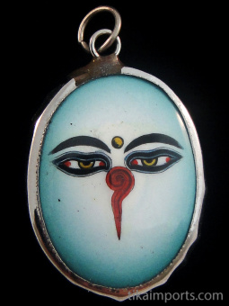Enamel Deity Pendant with an illustration of the Eyes of Buddha