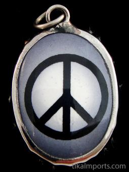 Peace Symbol enamel deity pendant