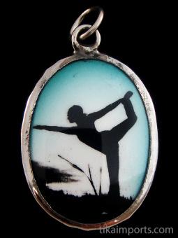 Yoga enamel deity pendant, the synchronization of breath and movement