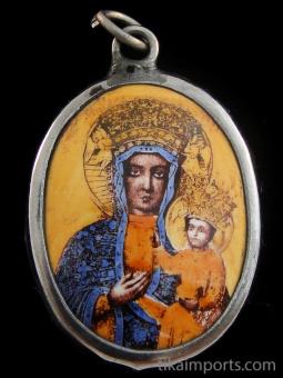 Black Madonna enamel deity pendant based on the 15th century Christian icon in Czestochowa, Poland