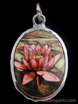 Lotus blossom enamel deity pendant, a symbol of divine beauty, purity and renewal