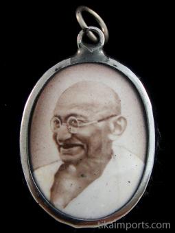 Mahatma Gandhi enamel deity pendant
