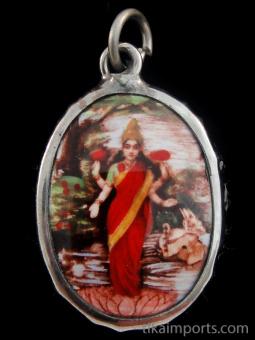standing Lakshmi enamel deity pendant, the Goddess of abundance and prosperity
