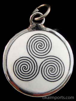 Triple Spiral enamel deity pendant, an ancient symbol representing the eternal cycles of life