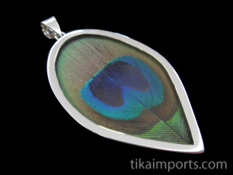 sterling silver peacock feather pendant