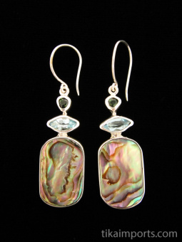 Sterling silver earrings featuring abalone shell with tourmaline and topaz accent stones.